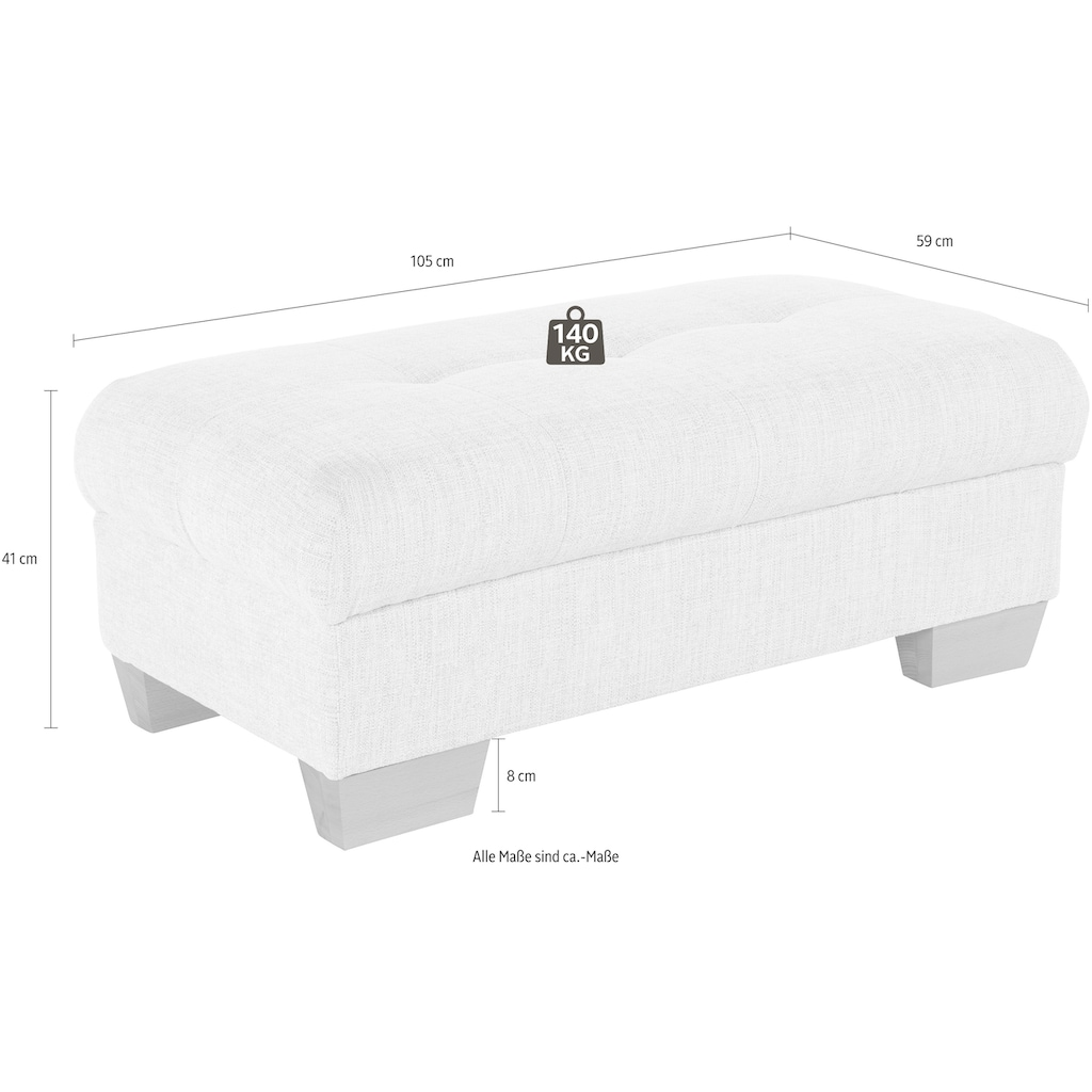 Nova Via Hocker, wahlweise mit Kaltschaum (140kg Belastung/Sitz), AquaClean-Stoff für leichte Reinigung mit Wasser und Bettfunktion / Bettkasten