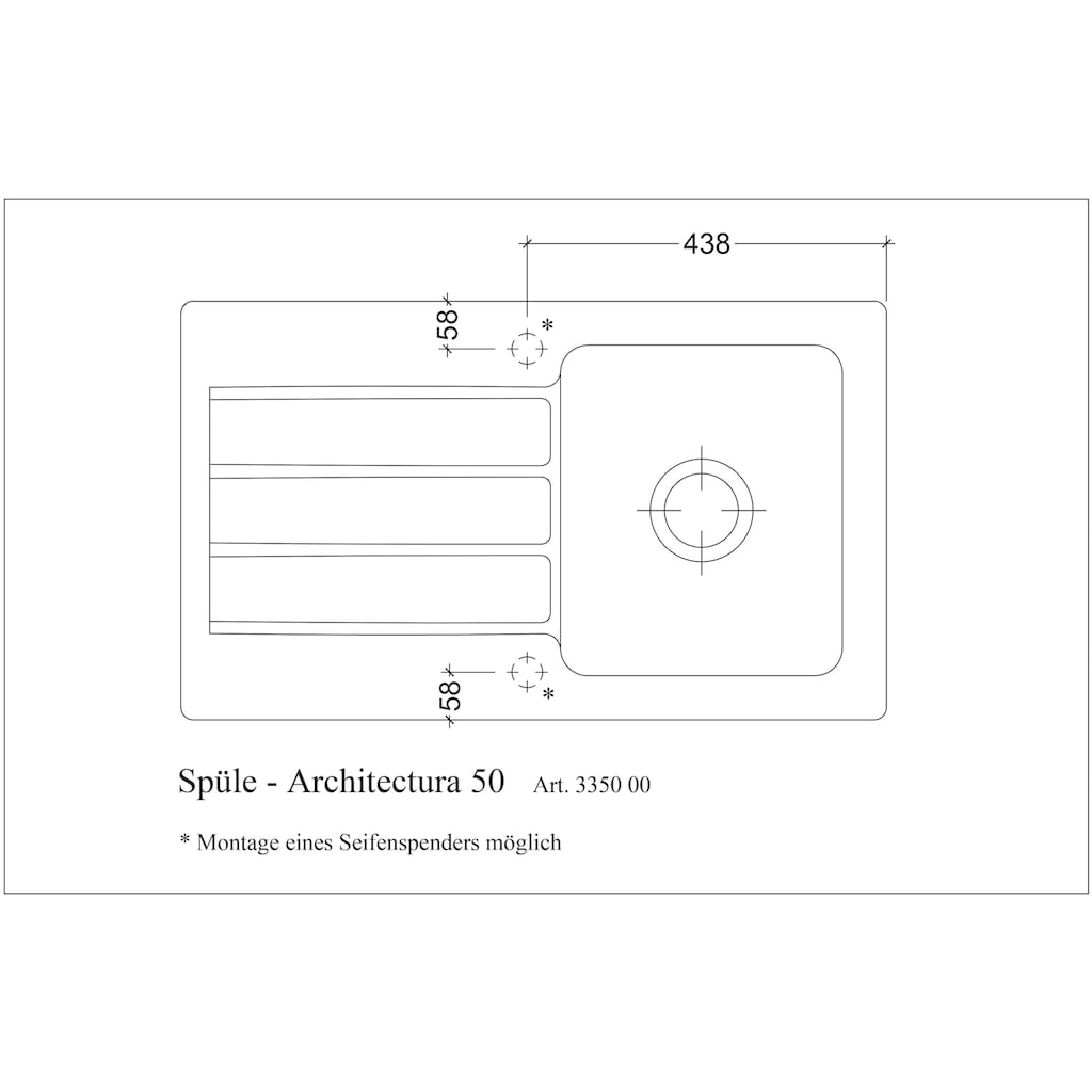 Villeroy & Boch Küchenspüle »Architectura 50«, inkl. Ablaufgarnitur mit Excenterbetätigung, 860 x 510 mm