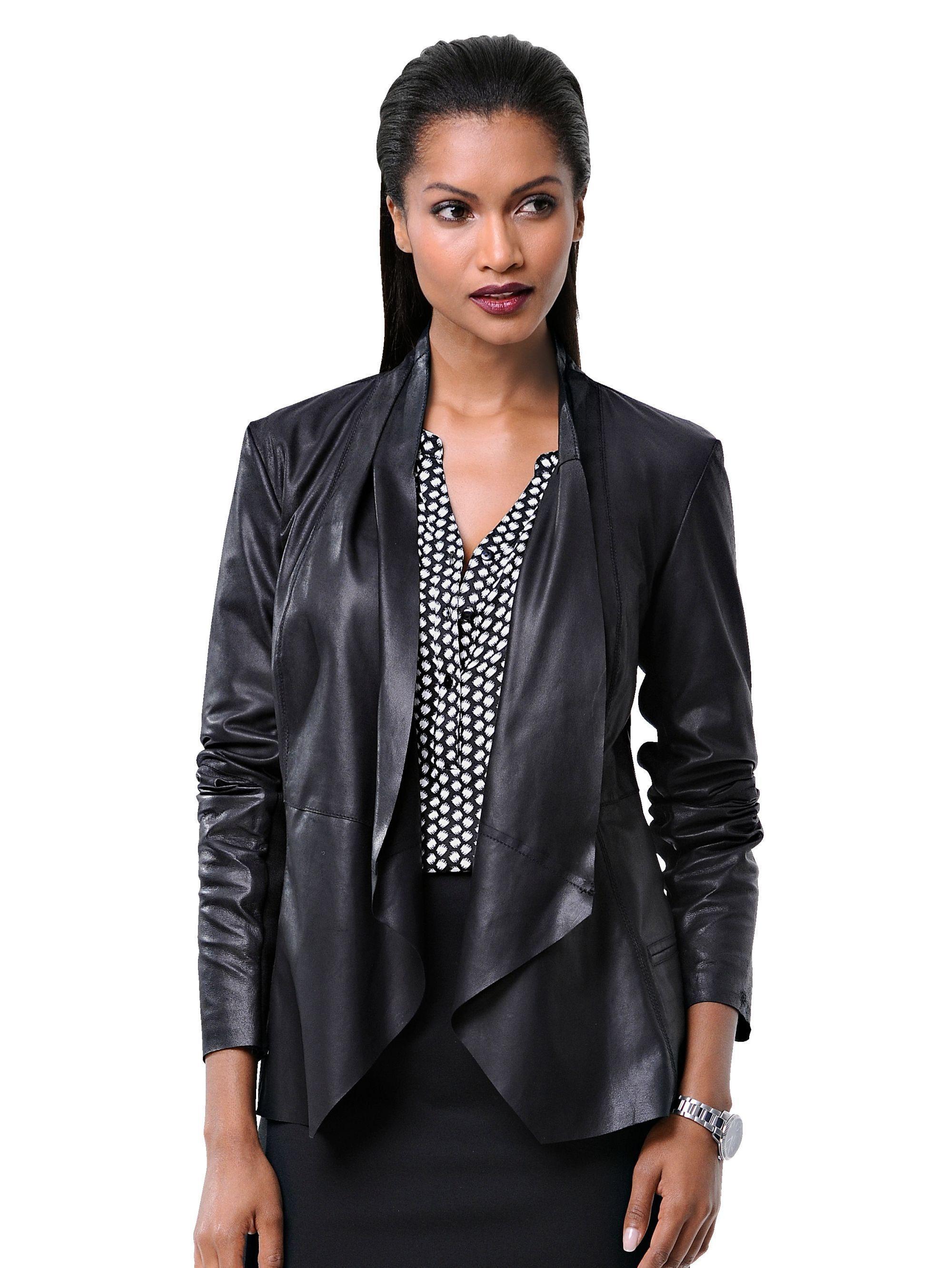 Alba Moda Lederjacke aus softem Ziegenveloursleder | Bekleidung > Jacken > Lederjacken & Kunstlederjacken | Schwarz | Jersey - Polyester - Baumwolle | Alba Moda