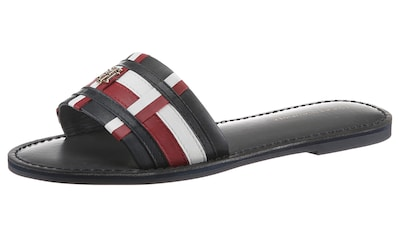 TOMMY HILFIGER Pantolette »TH CORPORATE FLAT LEATHER MULE«, mit farbiger Bandage kaufen