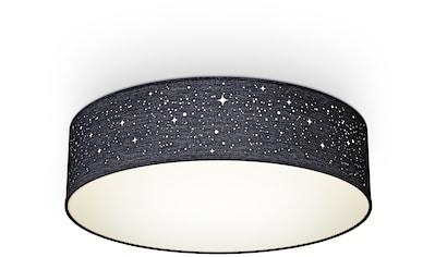 B.K.Licht Deckenleuchte, E27, 1 St., Textil-Sternenhimmel, Schwarz, Ø38cm, 2-flammig E27, Stoffdeckenleuchte rund, Schlafzimmerlampe, Textilschirm, ohne Leuchtmittel kaufen