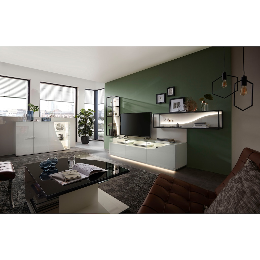 LEONARDO Sideboard »CURVE«, mit Vitrine, Innenfarbe Lack weiß, Breite 145 cm