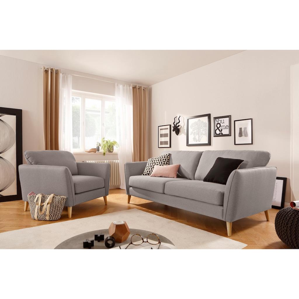 Home affaire 3-Sitzer »Marseille«, in skandinavischem Stil, in 3 Bezugsqualitäten, mit Holz-Beinen