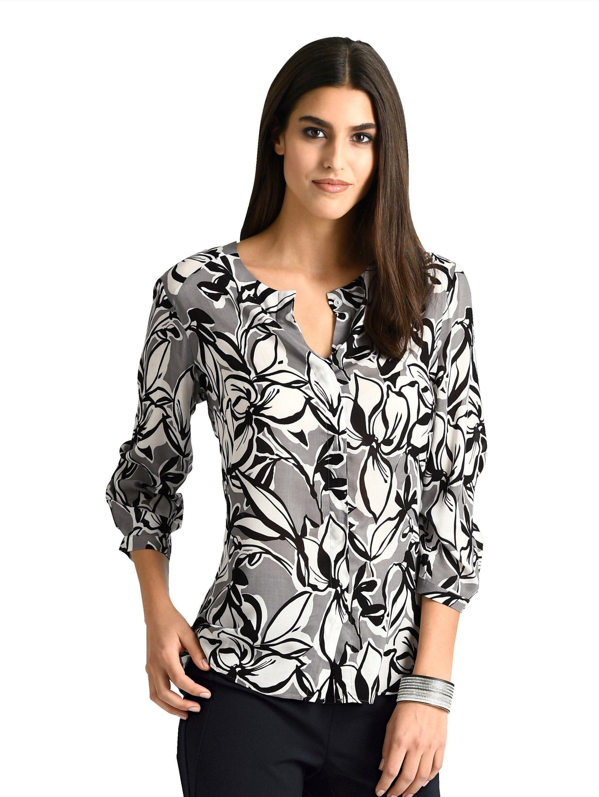 Alba Moda Kragenlose Bluse im floralen Allover-Print