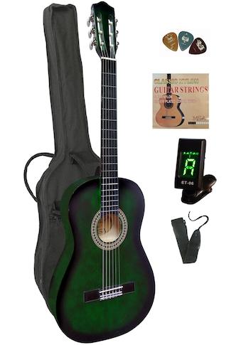 Konzertgitarre, 4/4, inkl. Gitarrentasche, Gitarrengurt, Saiten, 3 Plektren und Stimmgerät kaufen