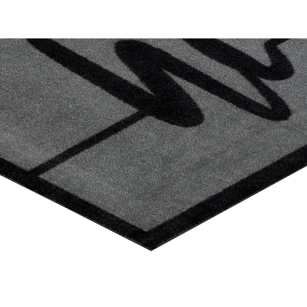 wash+dry by Kleen-Tex Fußmatte »Hi Line«, rechteckig, 9 mm Höhe, Fussabstreifer, Fussabtreter, Schmutzfangläufer, Schmutzfangmatte, Schmutzfangteppich, Schmutzmatte, Türmatte, Türvorleger, mit Spruch, In- und Outdoor geeignet, waschbar