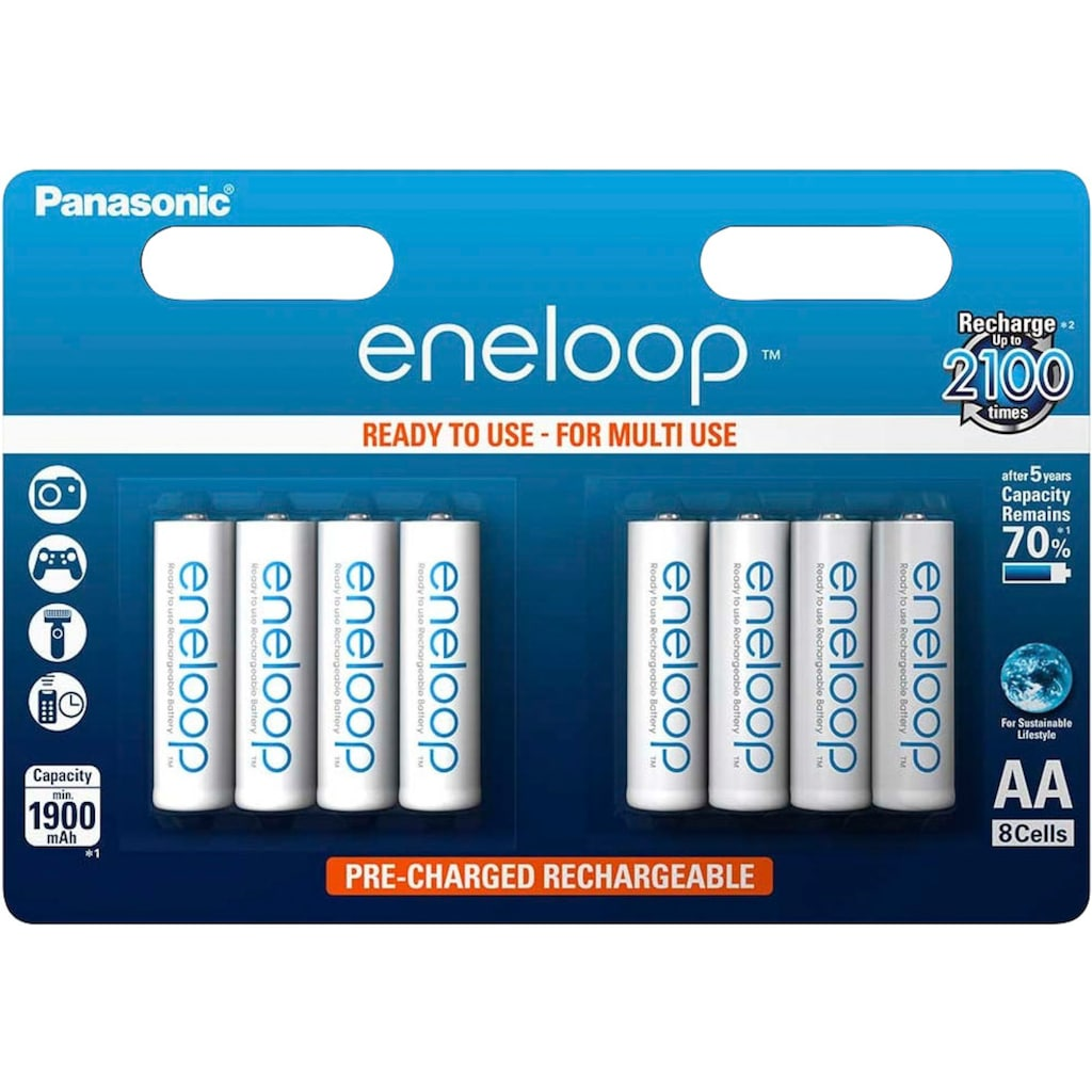 Panasonic wiederaufladbare Batterien »eneloop, AA Akku, BK3MCCE8BE«, (8 St.)