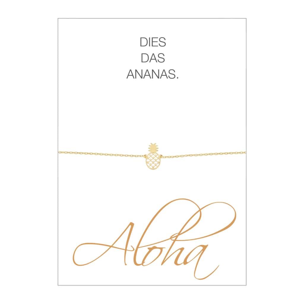HERZ-KARTE Armband »Aloha«, Armband mit Ananas-Einhänger, 925/- Sterlingsilber gelbvergoldet
