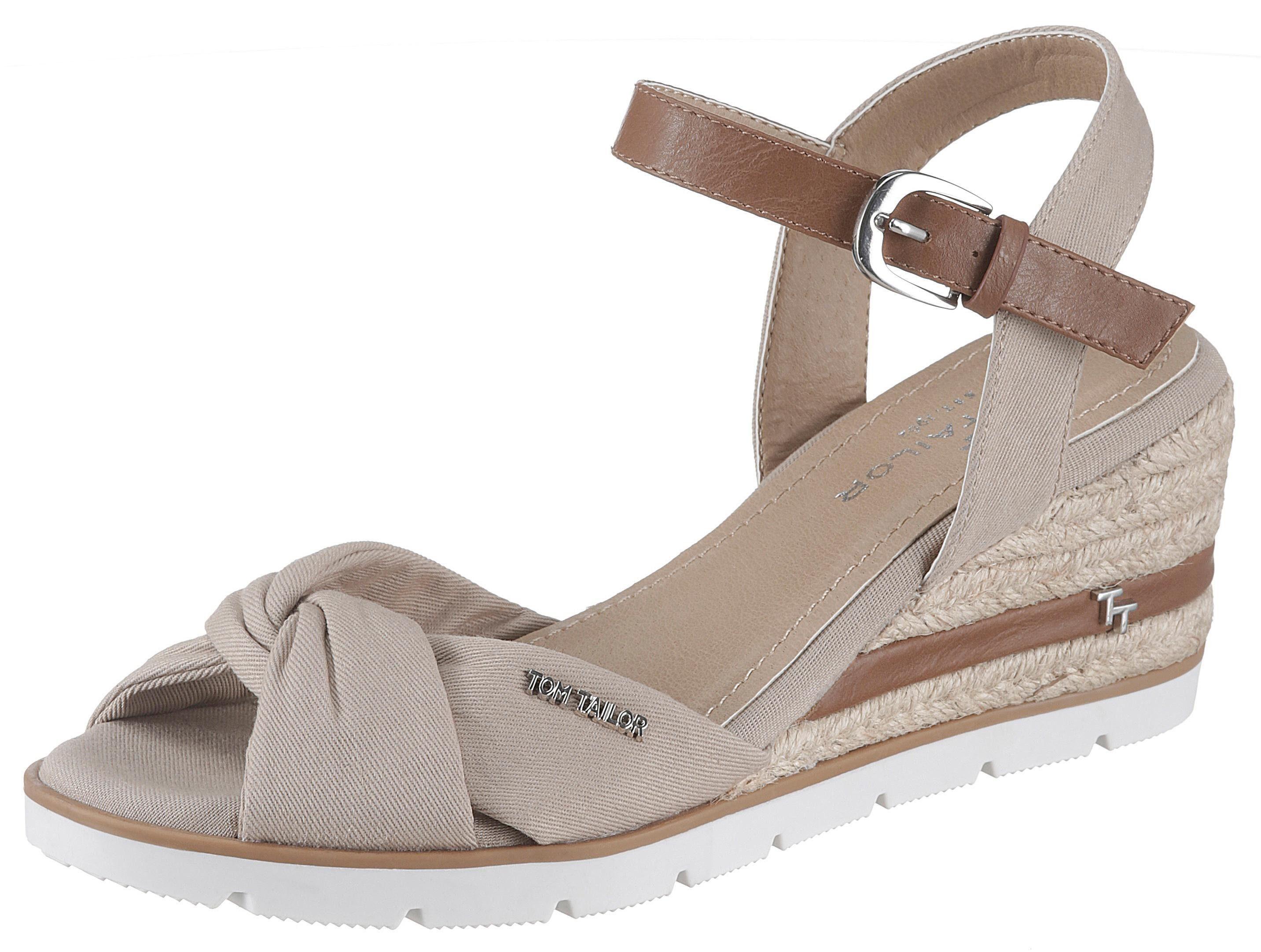 TOM TAILOR Sandalette, mit Label beige Damen Sandaletten Sandalen Sandalette