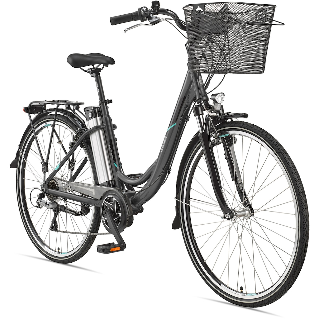 Telefunken E-Bike »Multitalent RC860«, 7 Gang, Shimano, Acera, Mittelmotor 250 W, mit Fahrradkorb