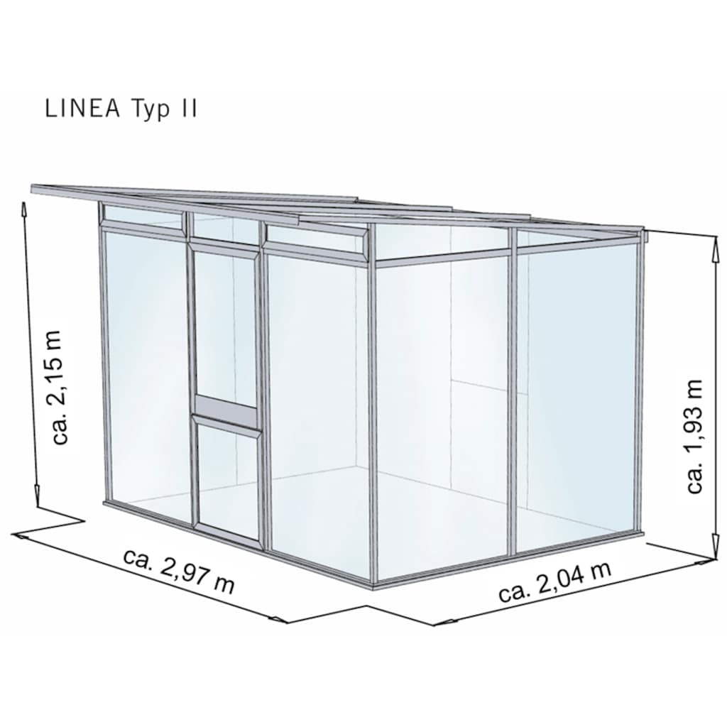 KGT Gewächshaus »Linea II«, BxTxH: 297x204x215 cm