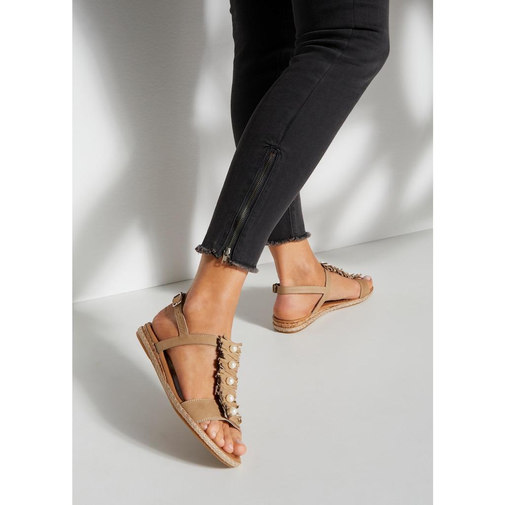 LASCANA Sandale, aus weichem Leder mit kleinen Perlen