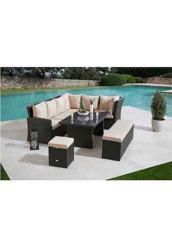 MERXX Gartenmöbelset »Barcelona«, (5 tlg.), 2 Sofas, Sitzbank, Hocker, Tisch kaufen