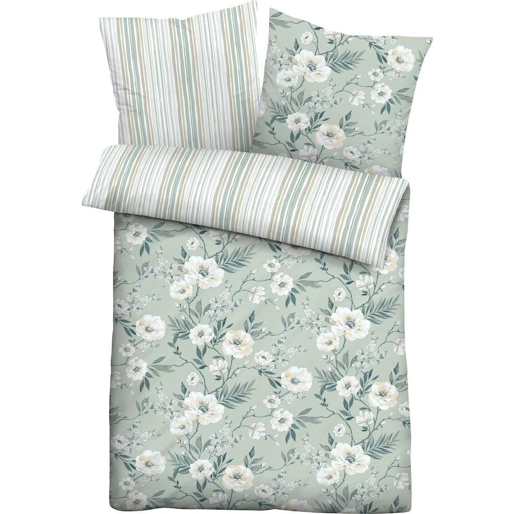 Biberna Wendebettwäsche »Ferdi«, im Blumen-Streifen Design