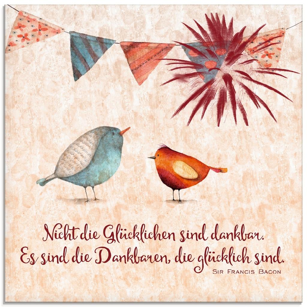 Artland Glasbild »Lebensweisheit Glücklich«, Tiere, (1 St.)