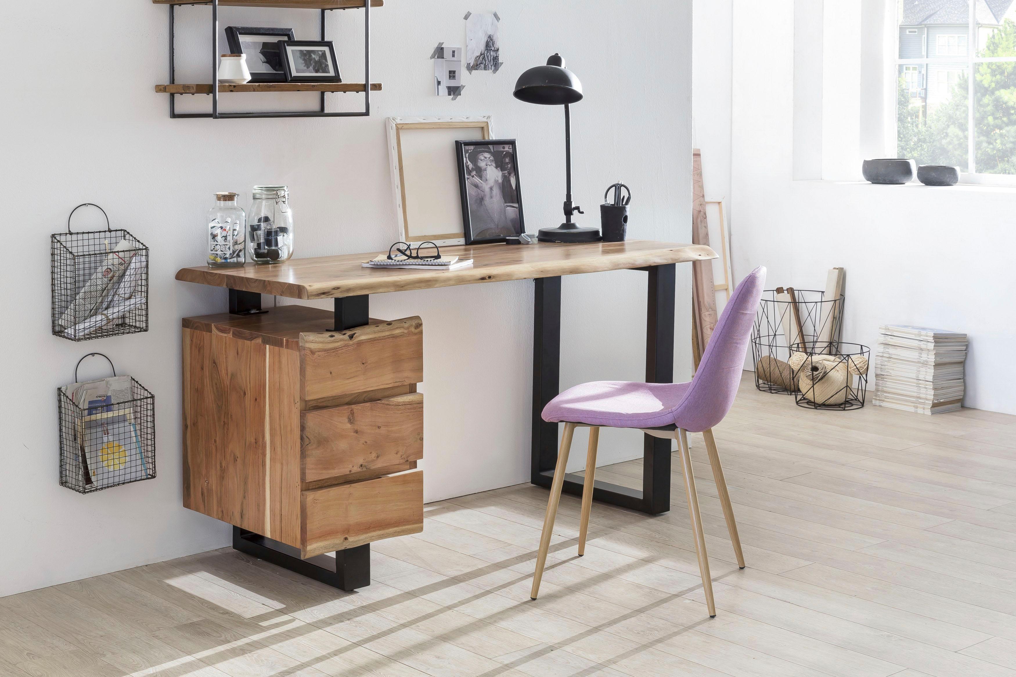 SIT Schreibtisch Albero massive Akazie mit Baumkante