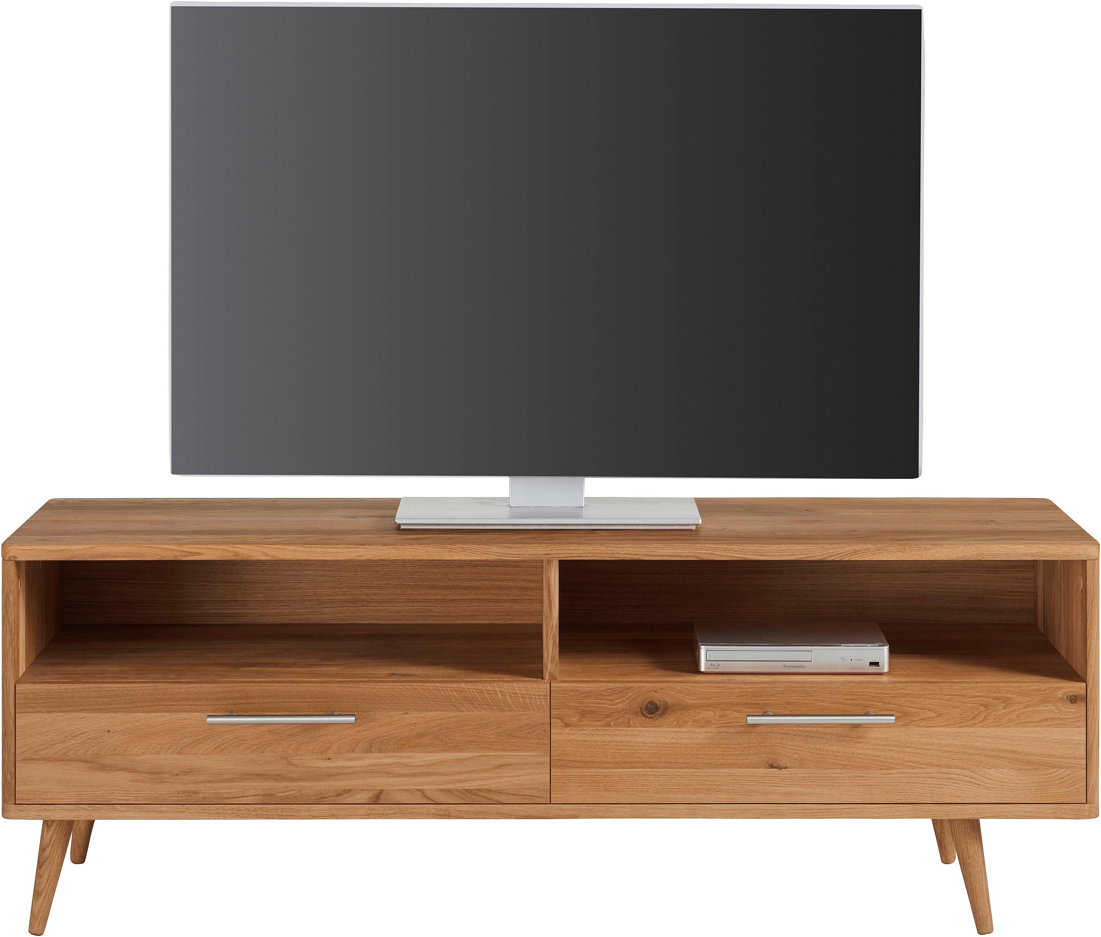 andas TV-Lowboard Pika Breite 140 cm aus massiver geölter Eiche