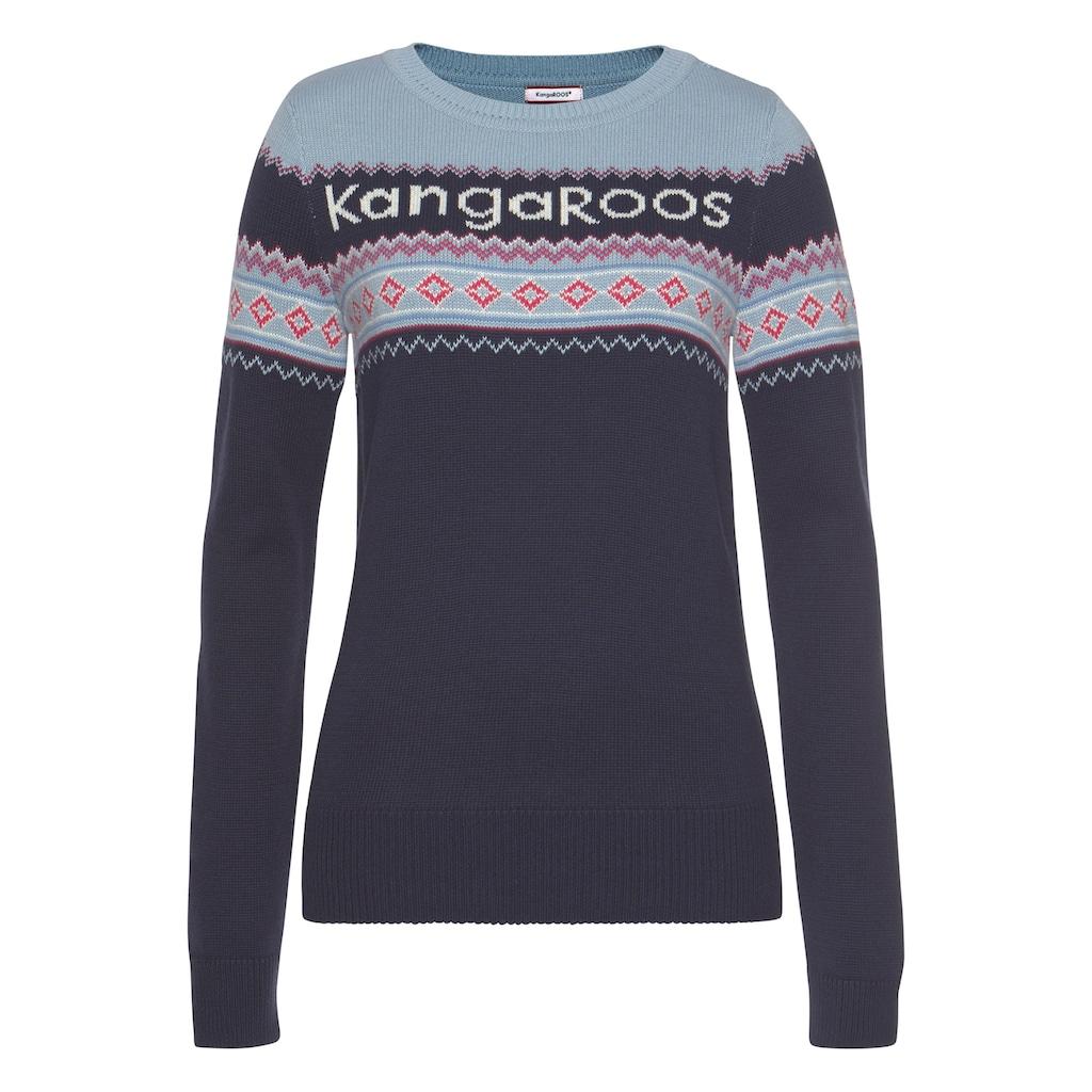 KangaROOS Norwegerpullover, mit farbenfrohem Mustermix