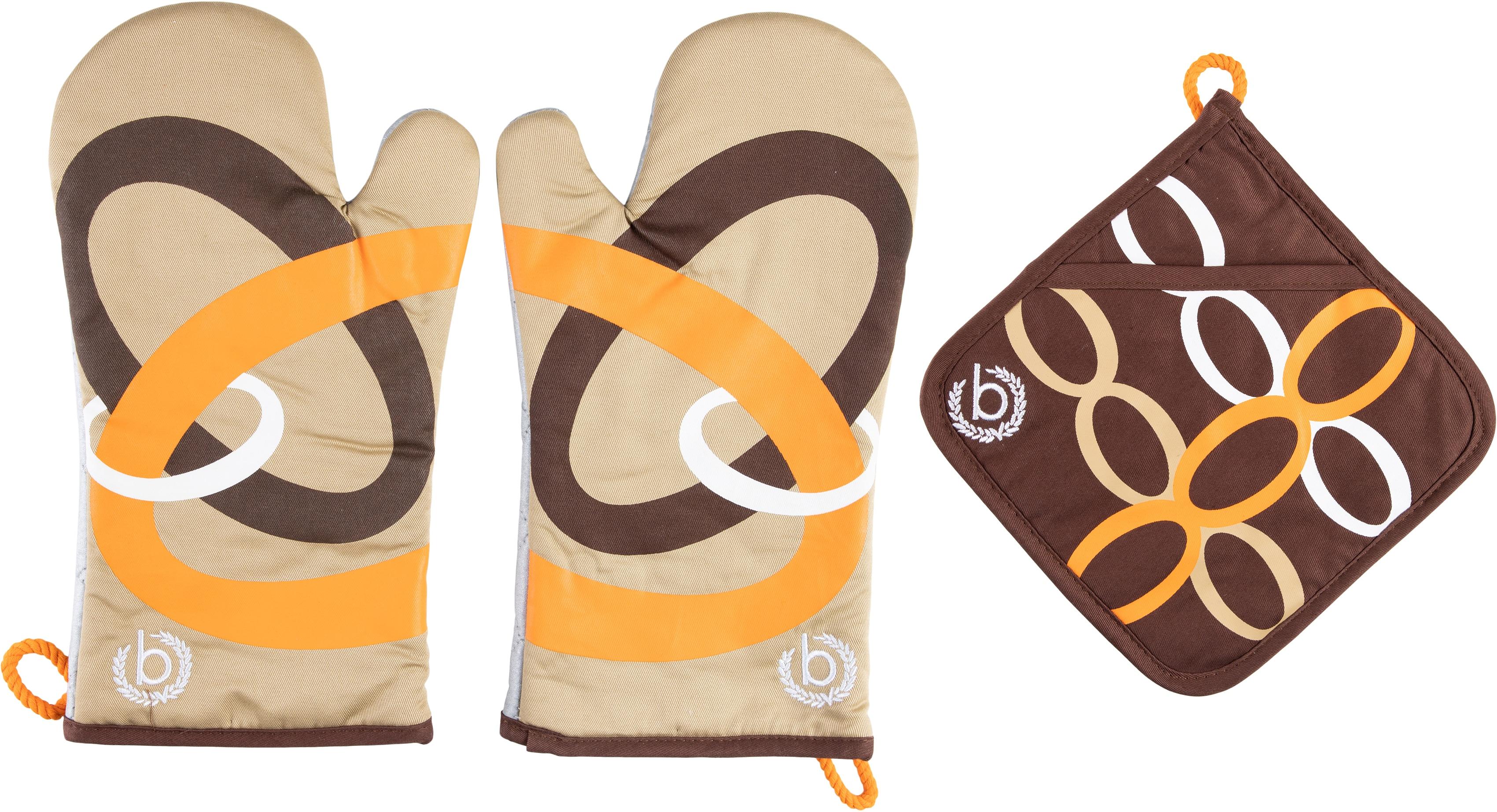 bugatti Topfhandschuhe Ellipse, (Set, 3 tlg., bestehend aus 2x Ofenhandschuh, 1x Topflappen) braun Topflappen und Topfhandschuh Kochen Backen Haushaltswaren