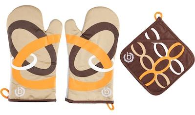 bugatti Topfhandschuhe »Ellipse«, (Set, 3 tlg., bestehend aus 2x Ofenhandschuh, 1x... kaufen