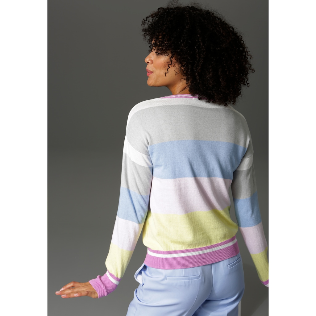 Aniston CASUAL Rundhalspullover, im Colorblocking