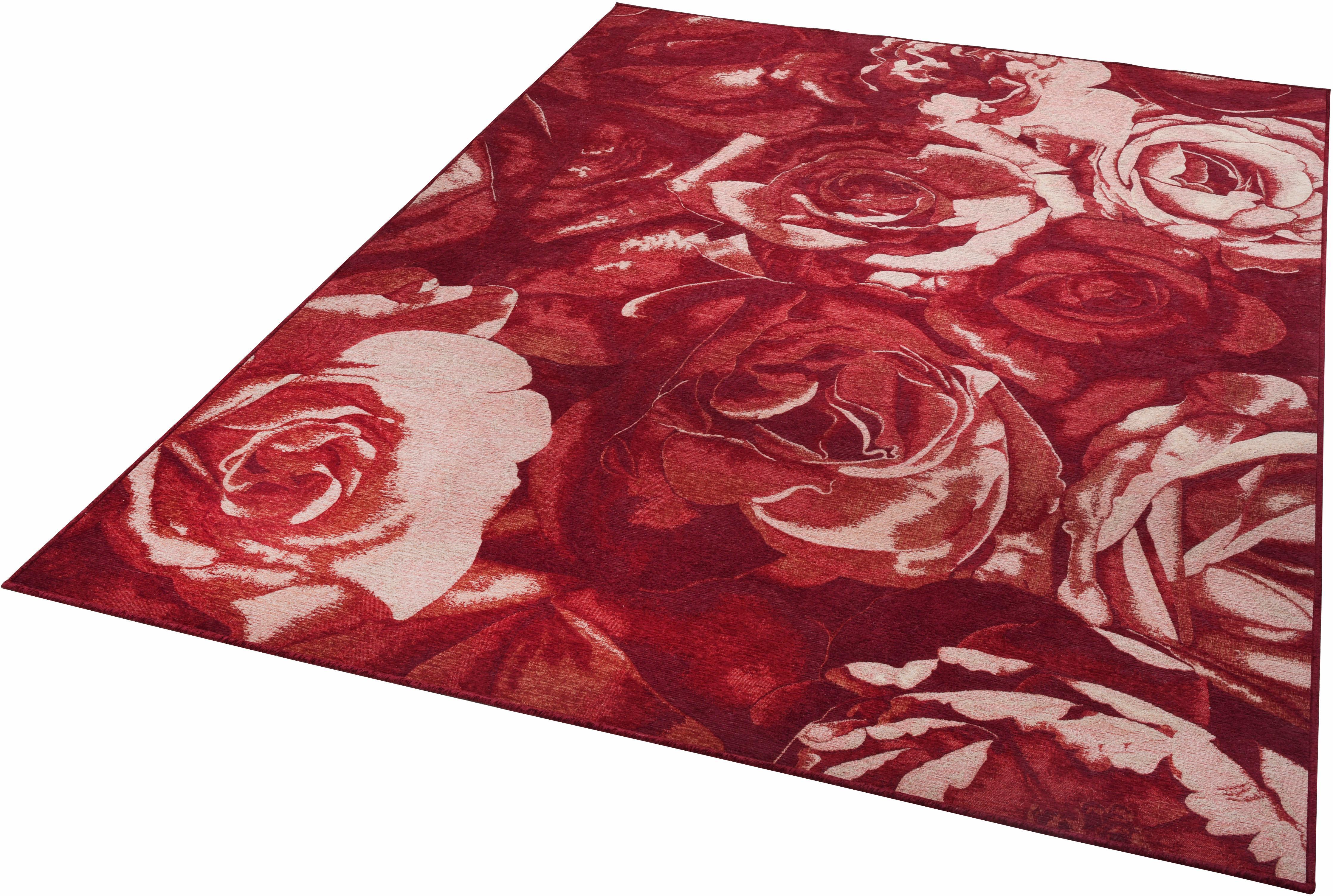 Teppich Flomi Rose THEKO rechteckig Höhe 4 mm maschinell gewebt