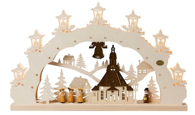 SAICO Original 3D-Lichterbogen Seiffener Kirche, 7flammig elektrisch beleuchte kaufen