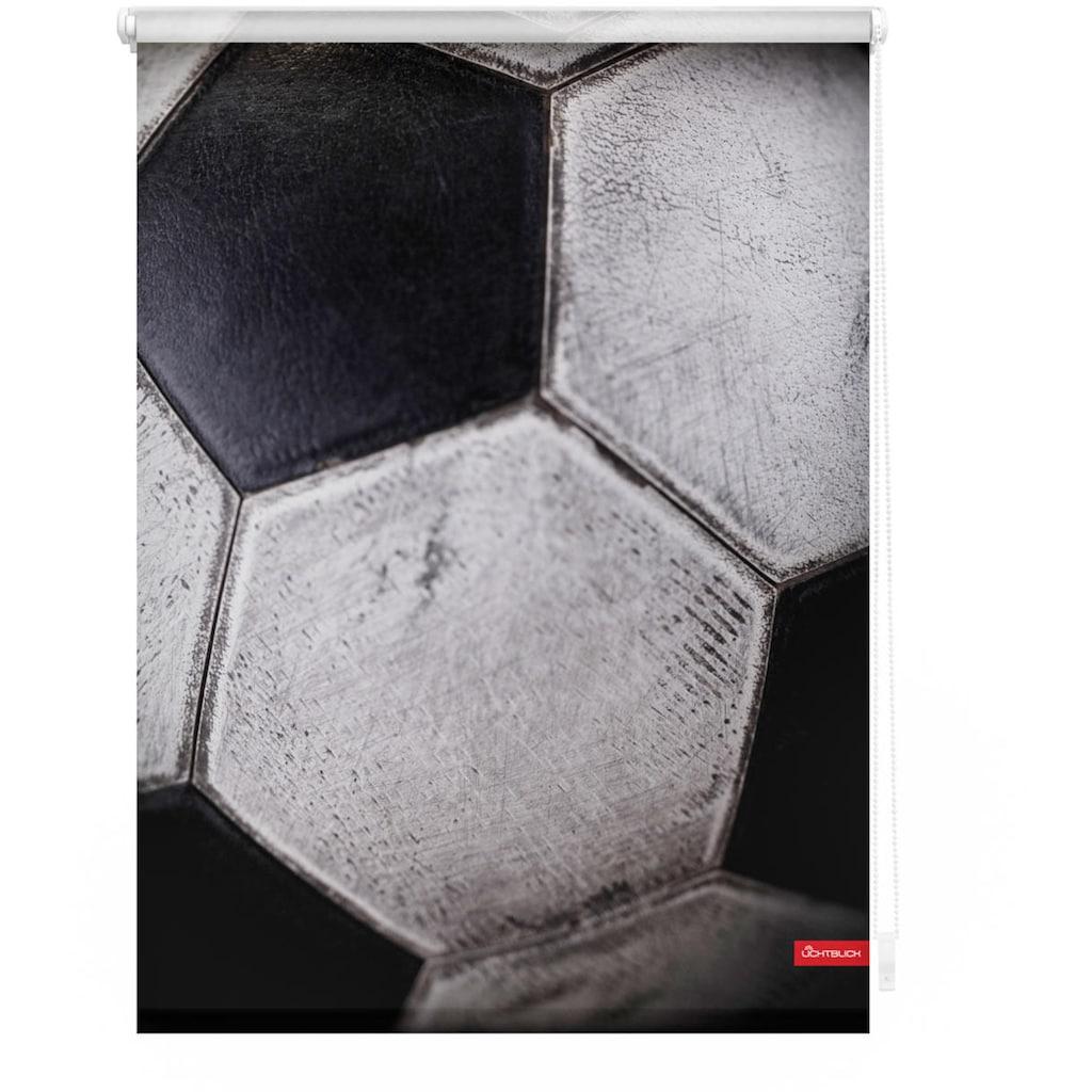 LICHTBLICK ORIGINAL Seitenzugrollo »Rollo Klemmfix, ohne Bohren, blickdicht, Retro Fußball - Schwarz-Weiß«, blickdicht, Sichtschutz-Blendschutz, freihängend