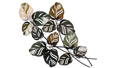 GILDE Wanddekoobjekt »Wandrelief Branch grün/braun«, Wanddeko, Höhe 67cm, aus Metall, Blätterzweige, Wohnzimmer kaufen