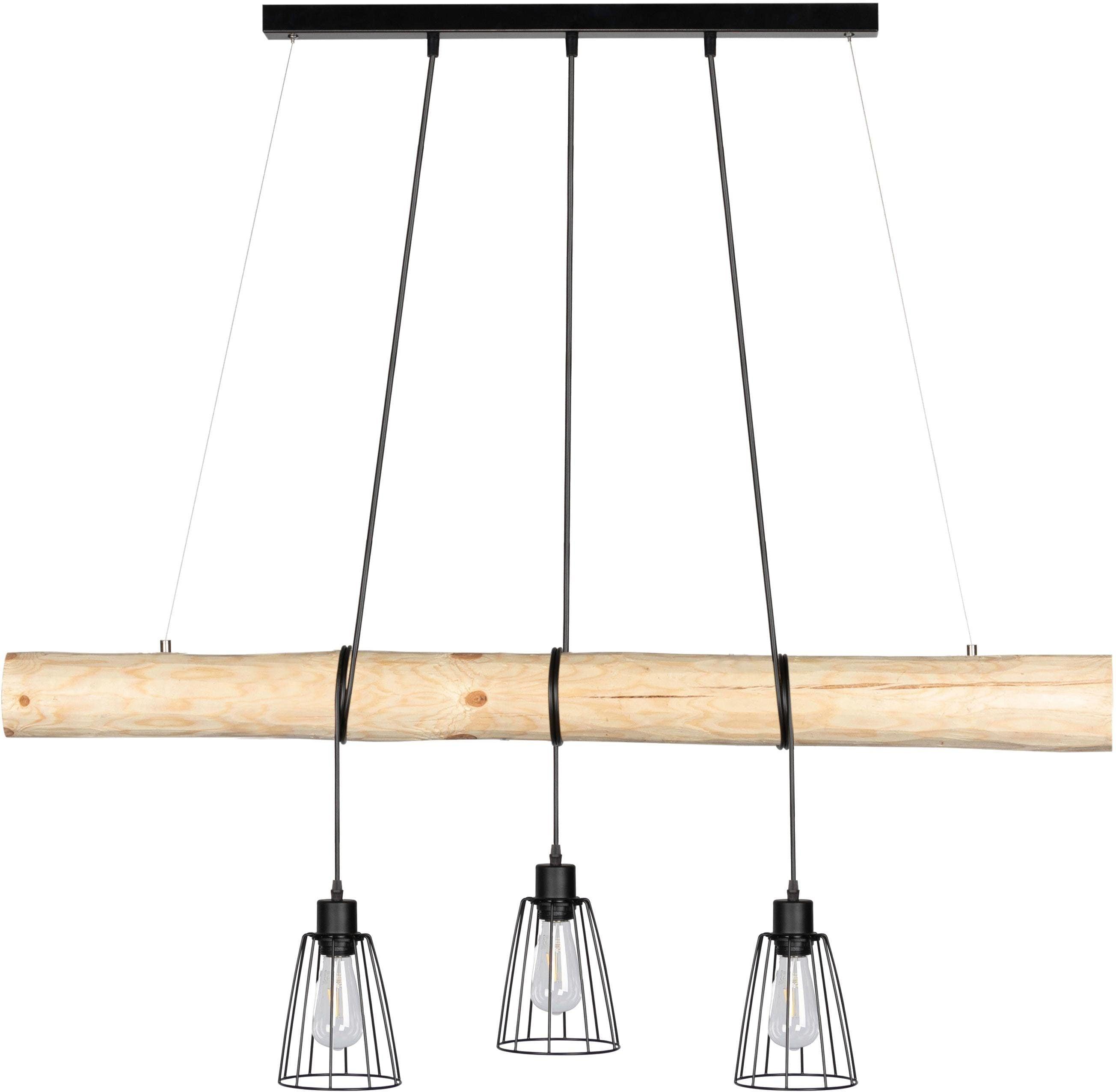 SPOT Light Pendelleuchte TRABO, E27, Hängeleuchte, mit Massivholzbalken Ø 8-12 cm, Naturprodukt mit FSC-zertifikat, Kürzbar, passende LM E27, Made in Europe