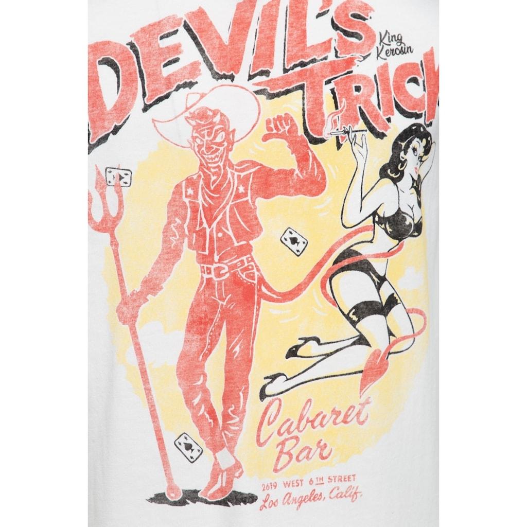 KingKerosin T-Shirt »Devils Trick«, mit Pin Up Frontduck im Vintage Look