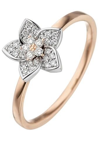 JOBO Diamantring »Blume«, 585 Gold bicolor mit 30 Diamanten kaufen