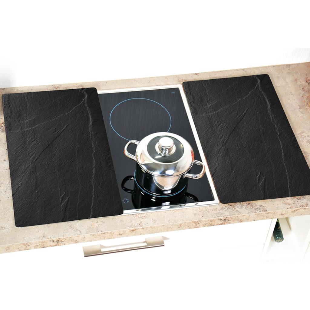 """KESPER for kitchen & home Schneide- und Abdeckplatte """"Schiefer-Optik"""", ESG-Sicherheitsglas, (Set, 2-tlg.)"""