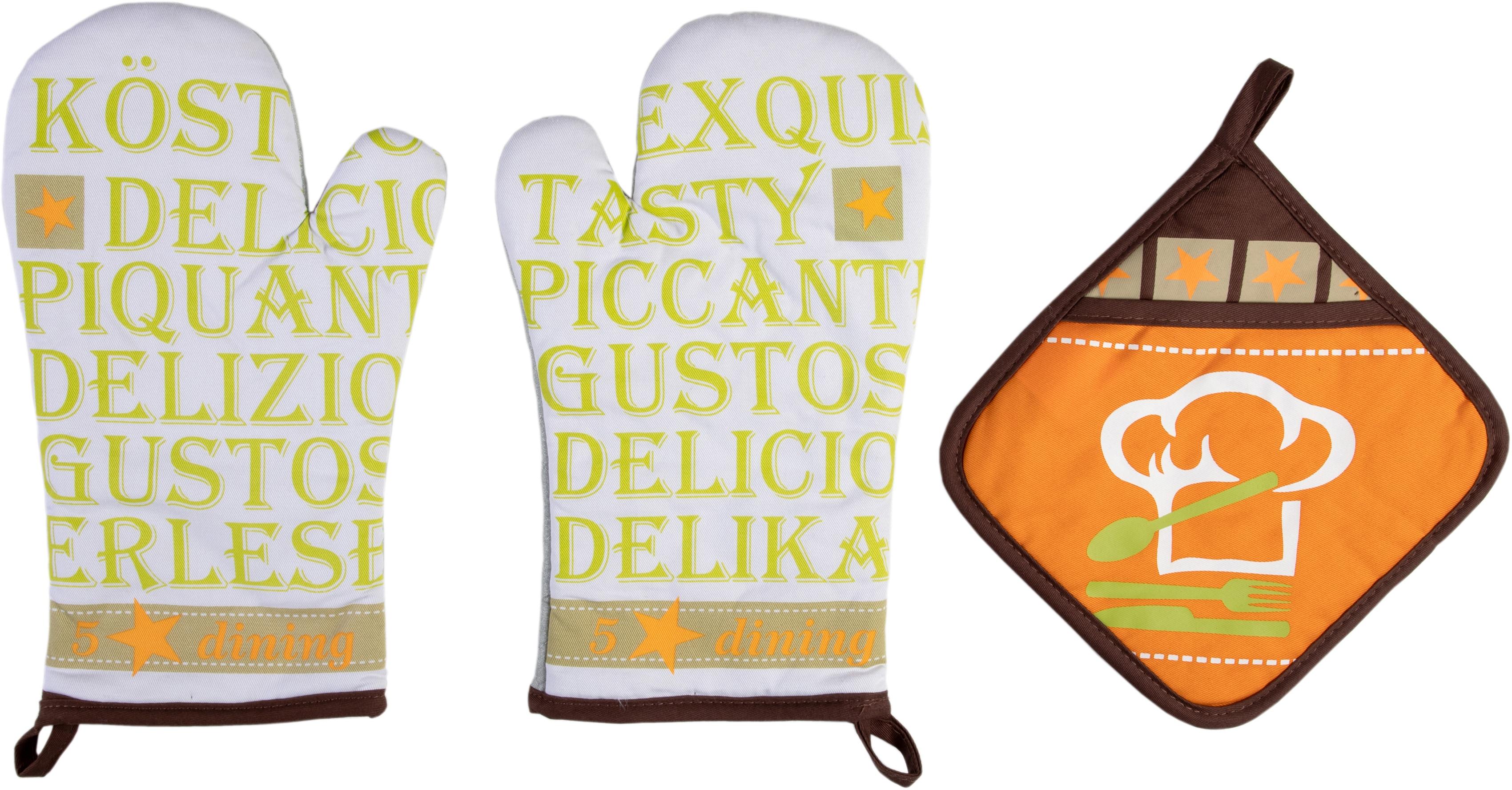 stuco Topfhandschuhe Gustoso, (Set, 3 tlg., bestehend aus 2x Ofenhandschuh, 1x Topflappen) bunt Topflappen und Topfhandschuh Kochen Backen Haushaltswaren