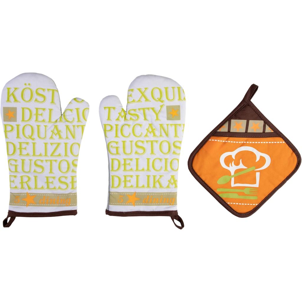stuco Topfhandschuhe »Gustoso«, (Set, 3 tlg., bestehend aus 2x Ofenhandschuh, 1x Topflappen)