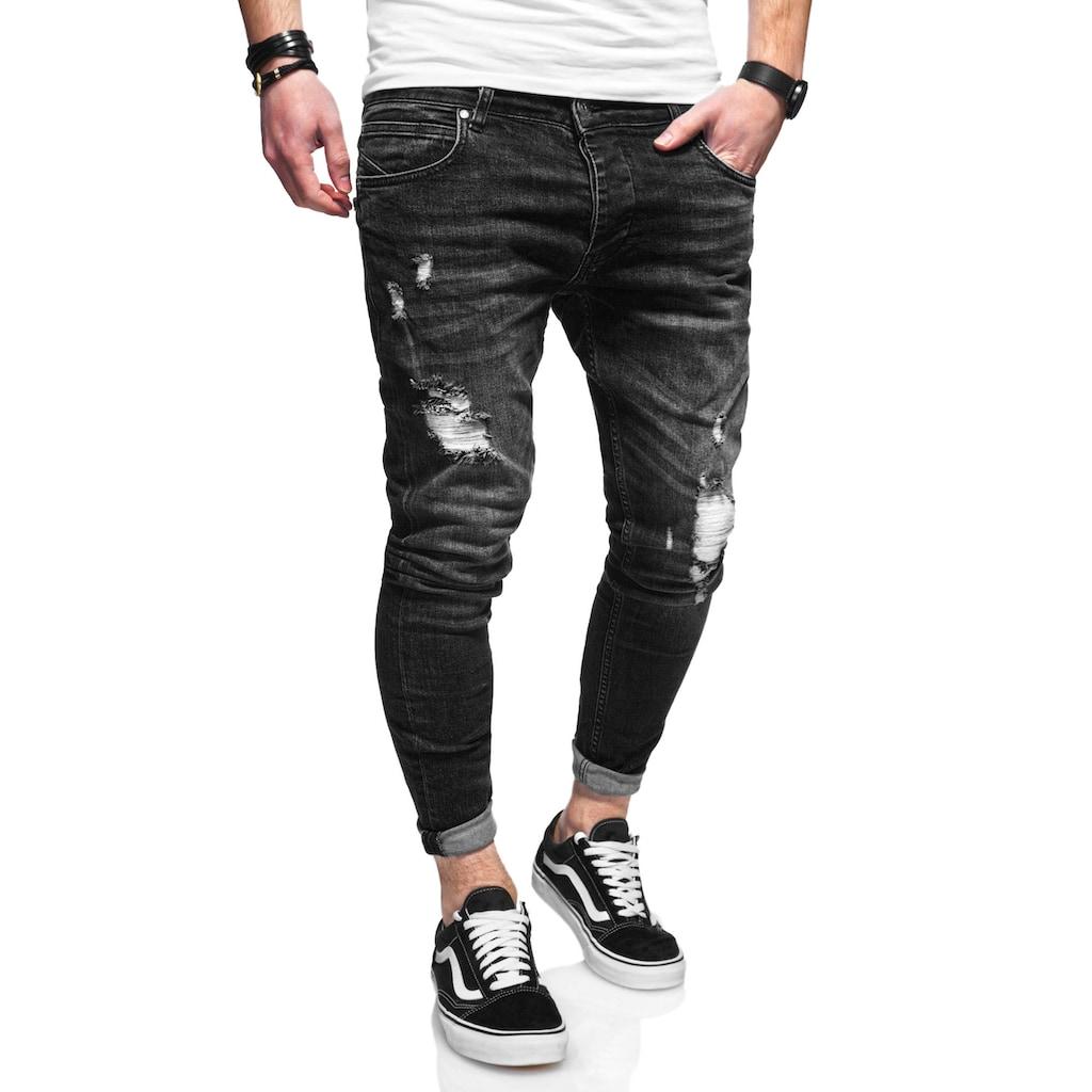 behype Slim-fit-Jeans »ODIN«, mit Destroyed-Parts