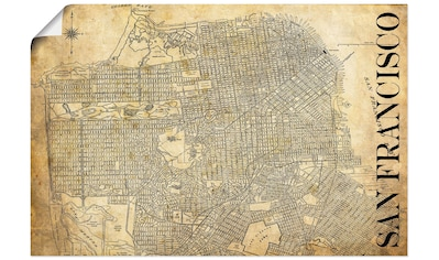 Artland Wandbild »San Francisco Karte Straßen Karte Sepia«, Amerika, (1 St.), in... kaufen