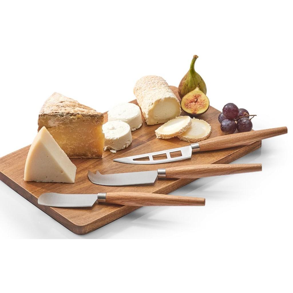 Zeller Present Käsemesser, (Set, 3 tlg., inkl. Geschenkbox), Griffe aus Eichenholz, für Käseliebhaber