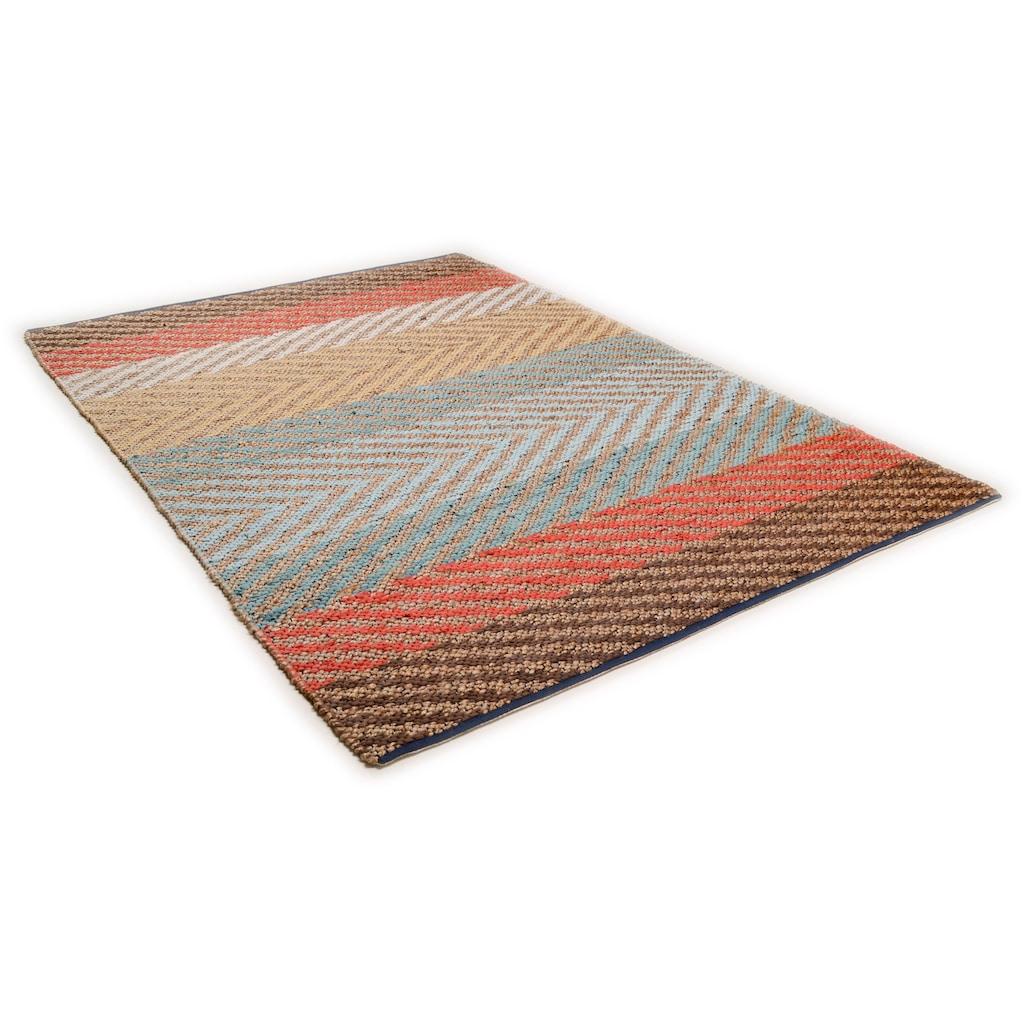 TOM TAILOR Teppich »Pastel Stripe«, rechteckig, 7 mm Höhe, Flachgewebe, Wohnzimmer