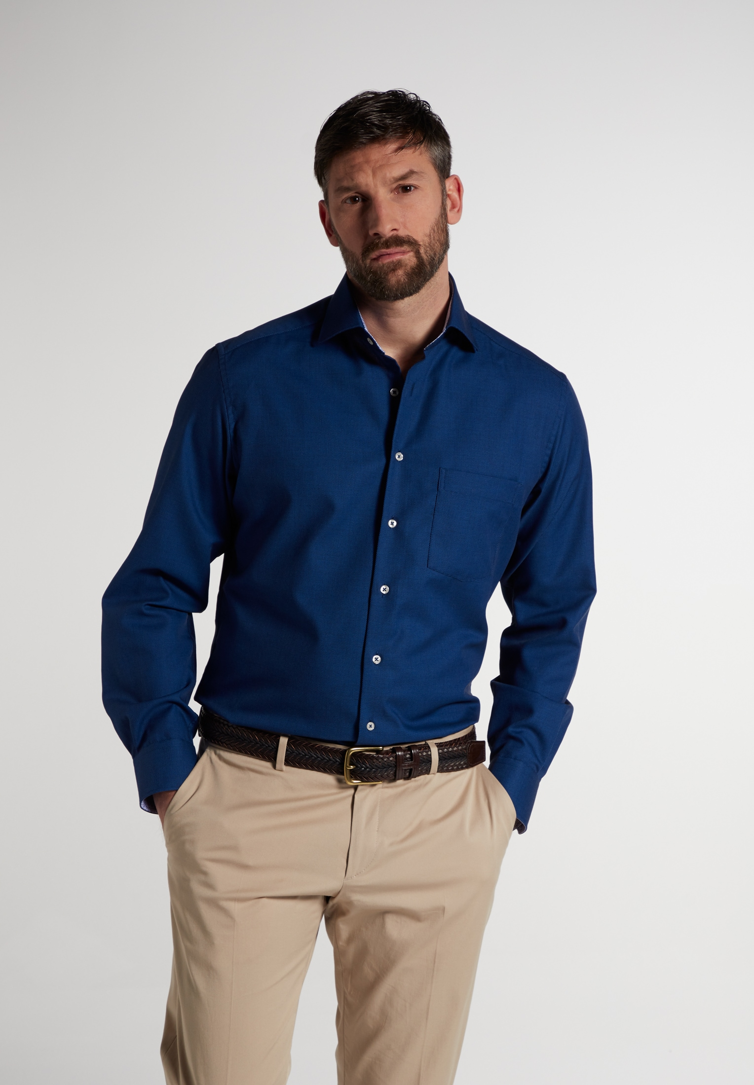 Eterna Businesshemd MODERN FIT, Langarm blau Herren Business Hemden Businessmode