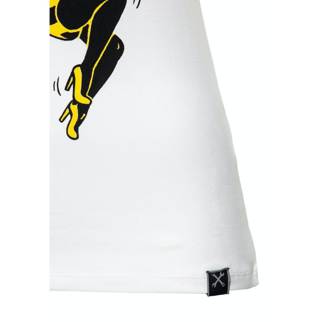 QueenKerosin Print-Shirt »Bee a Queen«, mit rundem Ausschnitt und Print