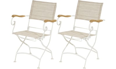 Ploß Gartenstuhl »Rom«, 2er Set, mit Armlehnen, klappbar, Eisen/Textil kaufen