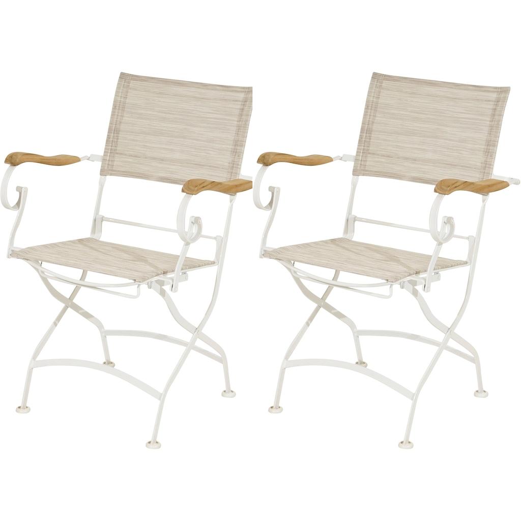 Ploß Gartenstuhl »Rom«, 2er Set, mit Armlehnen, klappbar, Eisen/Textil