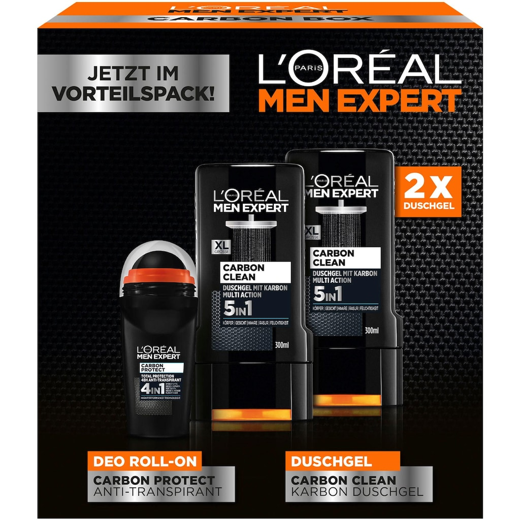 L'ORÉAL PARIS MEN EXPERT Geschenk-Box »Carbon Protect & Clean Box«, (3 tlg.), Duschpflege & Deo Schutz in einer Box