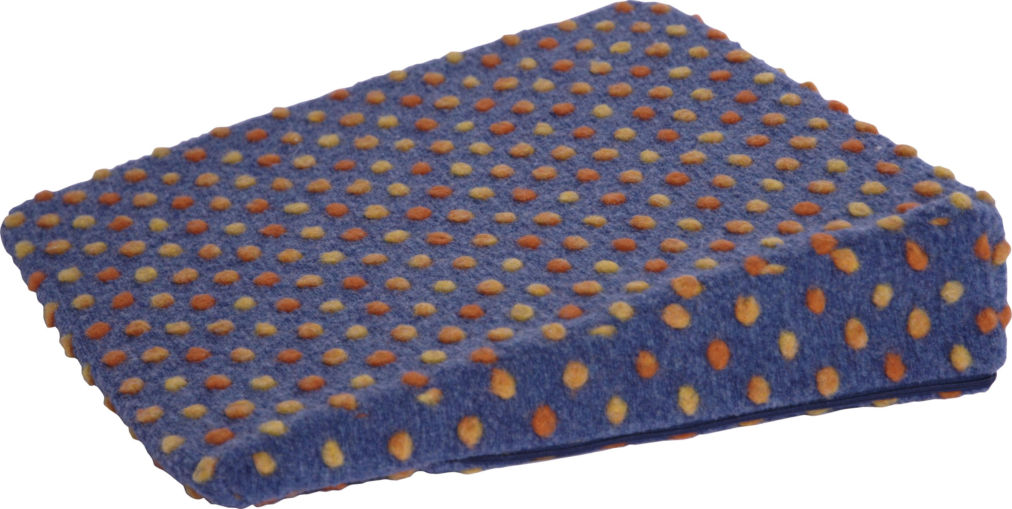 DELAVITA Keilkissen Punkte, aus reiner Schurwolle blau Sitzkissen Kissen