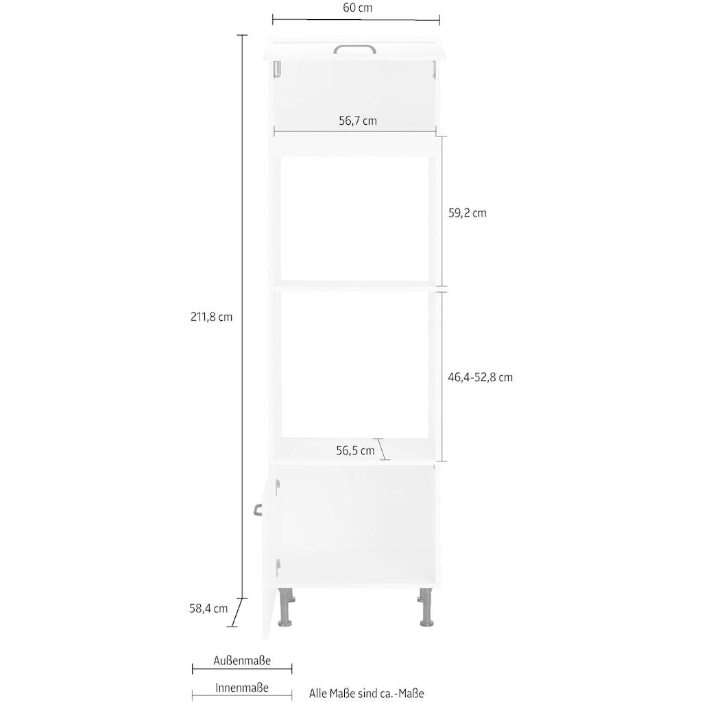 OPTIFIT Backofenumbauschrank »Elga«, geeignet für Einbaumikrowellengerät, mit Soft-Close-Funktion, höhenverstellbaren Füßen und Metallgriffe, Breite 60 cm