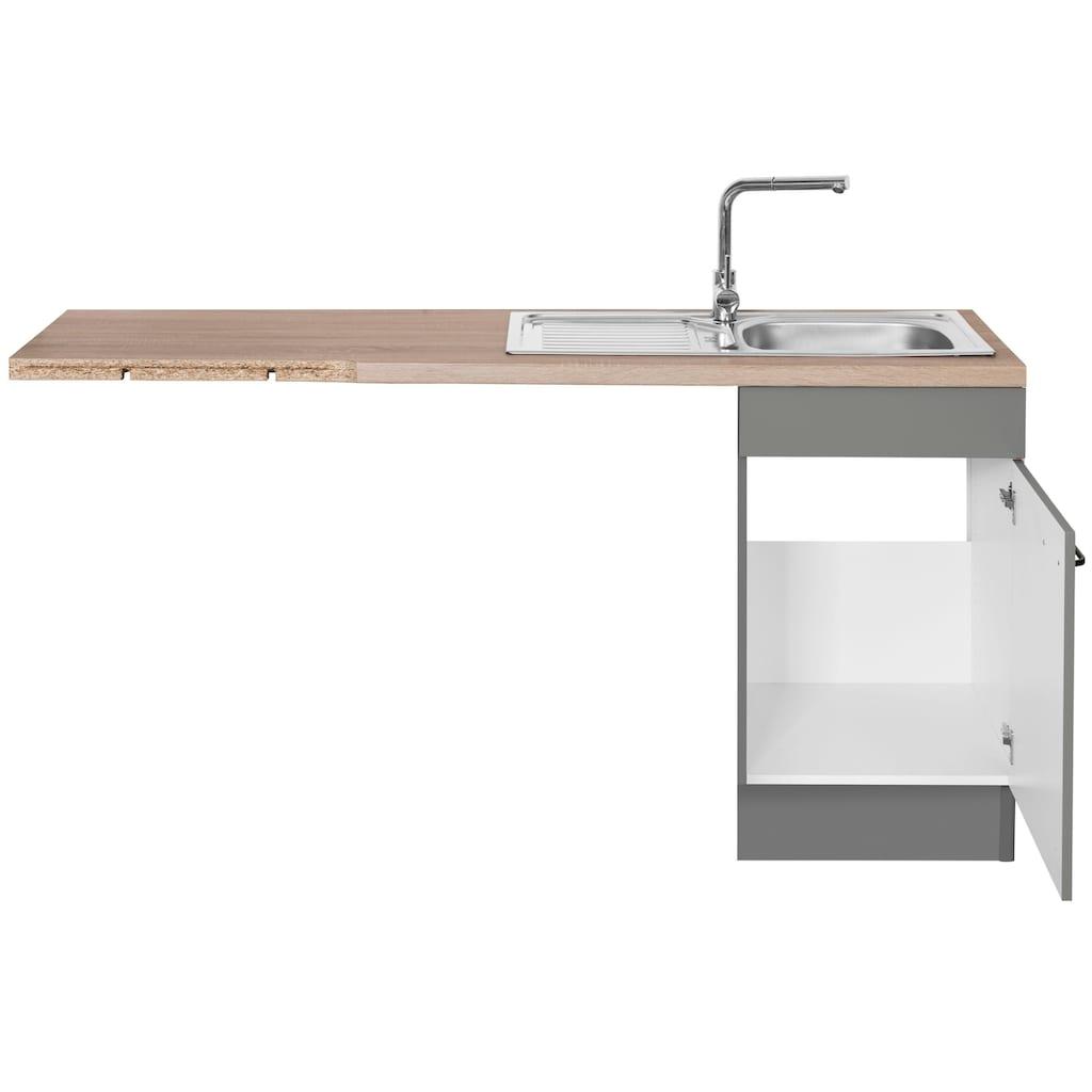 OPTIFIT Winkelküche »Elga«, ohne E-Geräte, Premium-Küche mit Soft-Close-Funktion, Vollauszug, höhenverstellbaren Füßen, Metallgriffen und 38 mm starker Arbeitsplatte, Stellbreite 225 x 175 cm