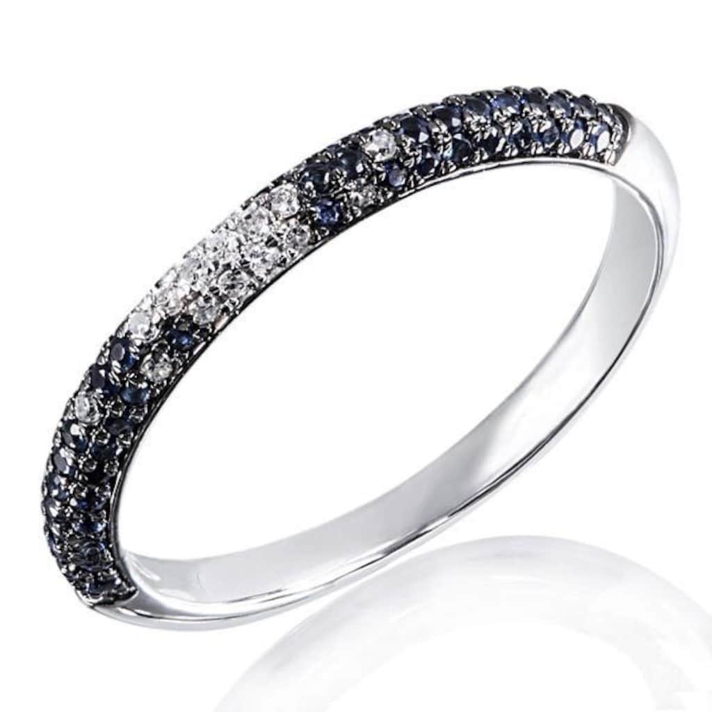 goldmaid Damenring 585 Weißgold 20 Diamanten . 0,11ct.,58 blaue Saphire