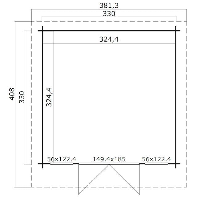 OUTDOOR LIFE PRODUCTS Gartenhaus »Kalmar 330«, BxT: 381x408 cm, inkl. Fußboden