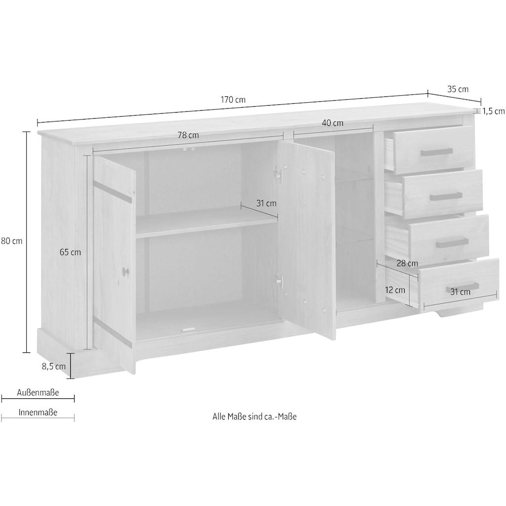 Home affaire Sideboard »Loki«, aus massivem Kiefernholz, mit zwei verstellbaren Glaseinlegeböden, Breite 170 cm